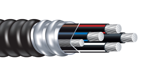 Jacketed Metal Clad Cable with Alumaflex Brand XHHW-2 Feeder Size Conductors