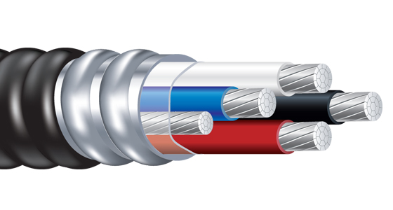 Jacketed Metal Clad Cable with Alumaflex Brand THHN Feeder Size Conductors