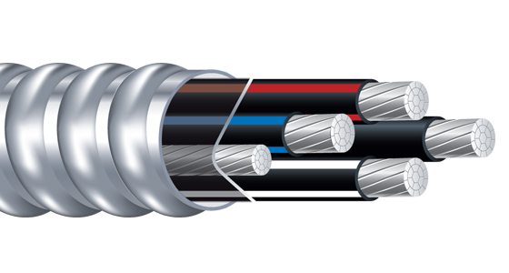 Metal Clad Cable with Alumaflex Brand XHHW-2 Feeder Size Conductors